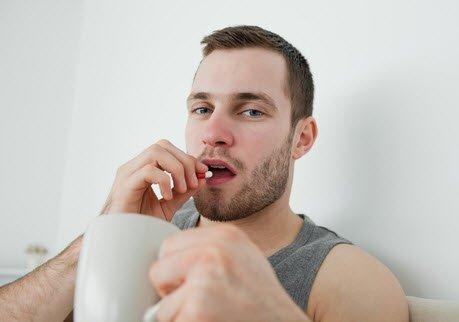 The man takes semen volume enhancer pill